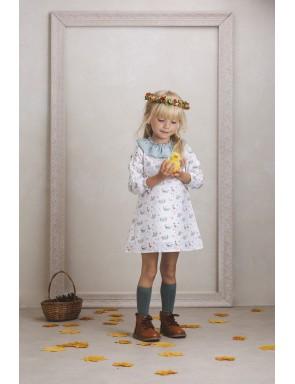 vestido cuello-volante patitos